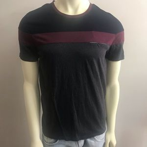 Ted Baker t shirt Sz 3 gray burgundy blue